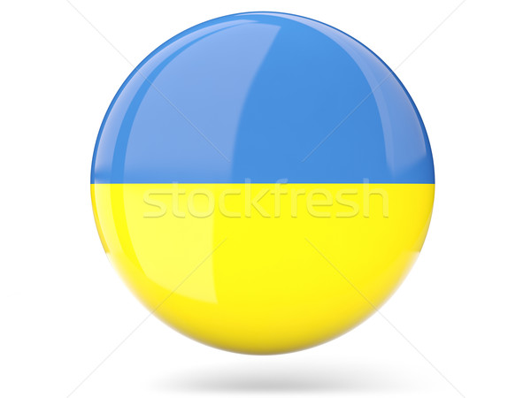 ícone bandeira Ucrânia assinar branco Foto stock © MikhailMishchenko