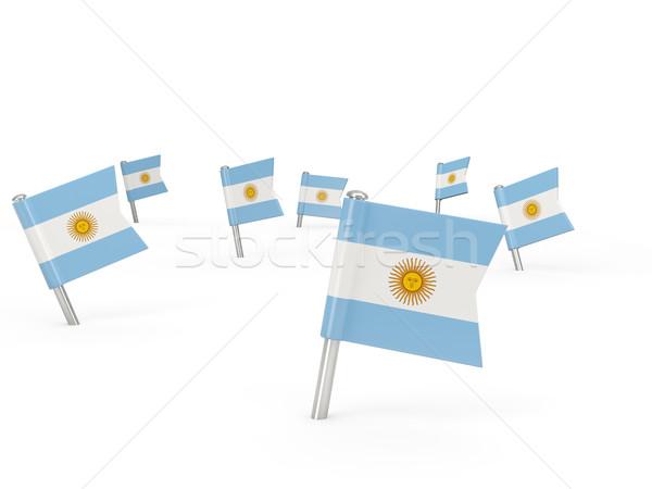 квадратный флаг Аргентина изолированный белый стране Сток-фото © MikhailMishchenko