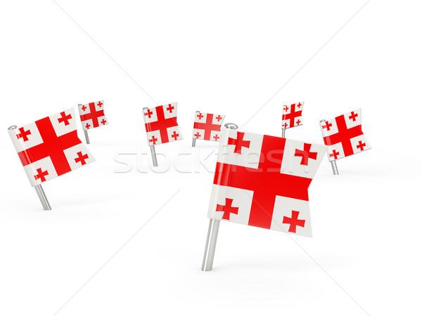 Square pins with flag of georgia Stock photo © MikhailMishchenko