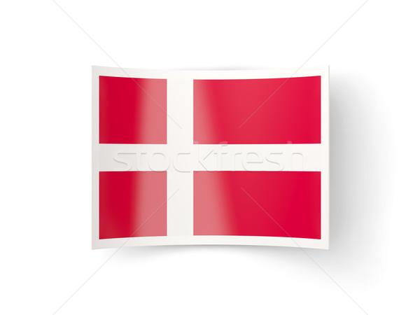 Icon vlag Denemarken geïsoleerd witte land Stockfoto © MikhailMishchenko