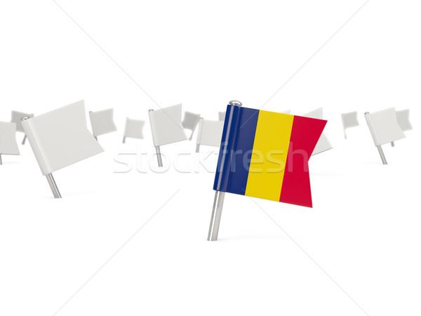 Cuadrados pin bandera Chad aislado blanco Foto stock © MikhailMishchenko