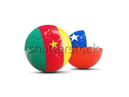 Futebol bandeira Camarões ilustração 3d futebol esportes Foto stock © MikhailMishchenko