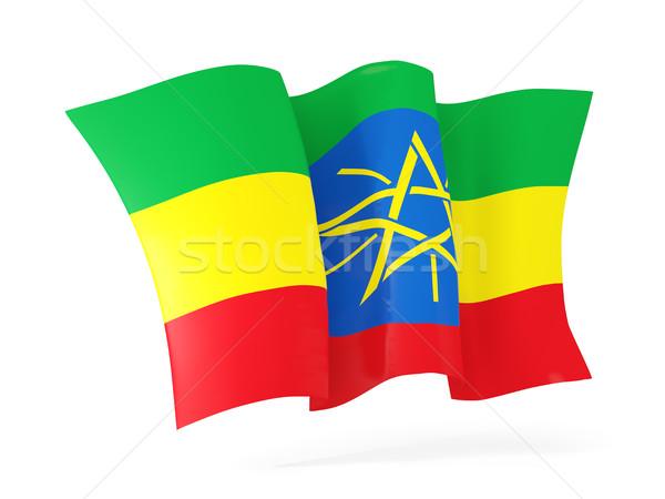 Banderą Etiopia 3d ilustracji odizolowany biały Zdjęcia stock © MikhailMishchenko