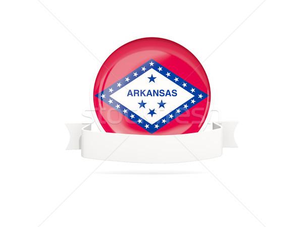 Zászló szalag ikon izolált fehér 3d illusztráció Stock fotó © MikhailMishchenko