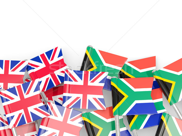 Flag pins of United Kingdom and South Africa isolated on white Stock photo © MikhailMishchenko