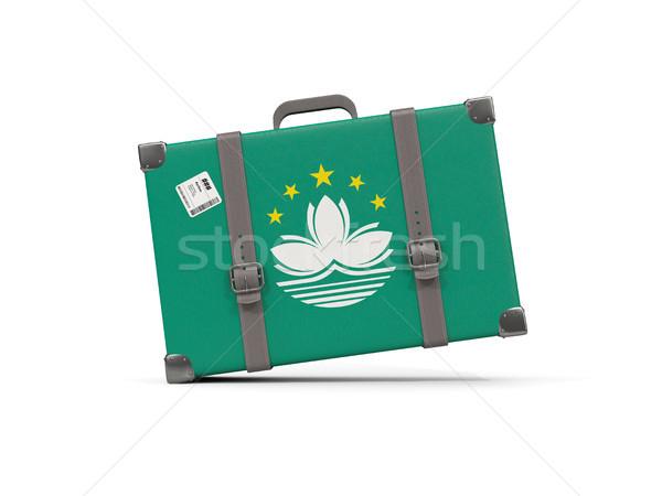 Luggage with flag of macao. Suitcase isolated on white Stock photo © MikhailMishchenko