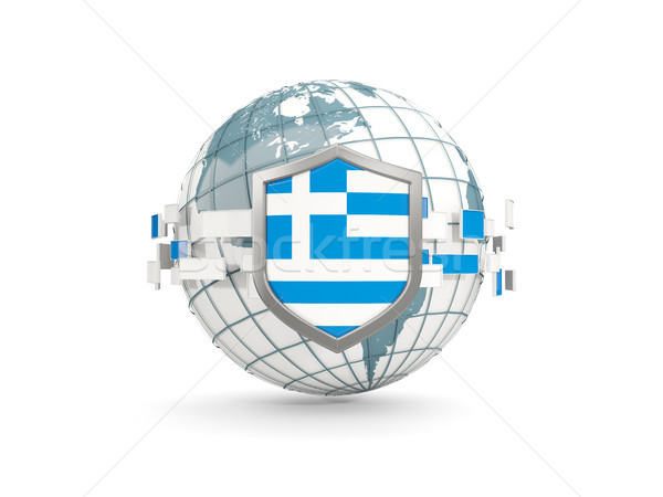 Wereldbol schild vlag Griekenland geïsoleerd witte Stockfoto © MikhailMishchenko