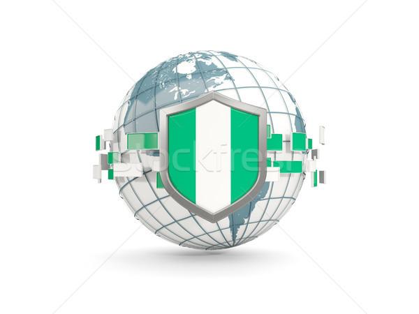 Globo escudo bandeira Nigéria isolado branco Foto stock © MikhailMishchenko