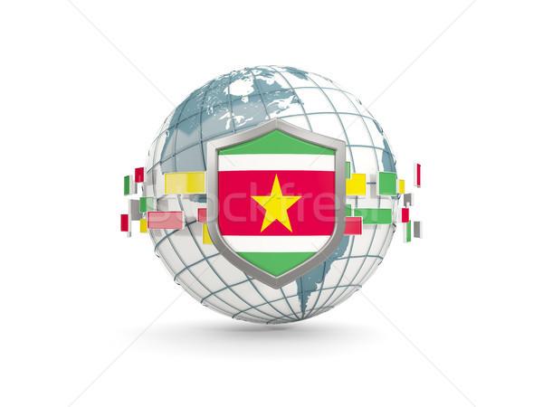 мира щит флаг Суринам изолированный белый Сток-фото © MikhailMishchenko