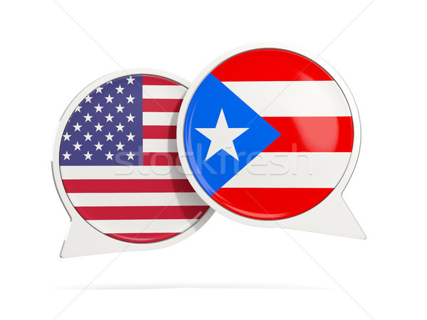 Chat bubbels USA Puerto Rico geïsoleerd witte Stockfoto © MikhailMishchenko