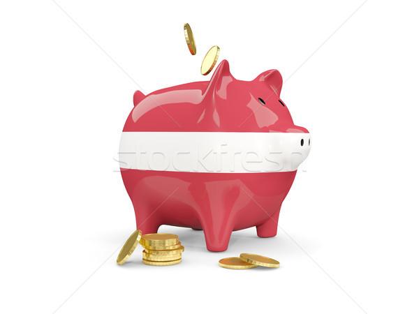 Vet spaarvarken Letland geld geïsoleerd witte Stockfoto © MikhailMishchenko