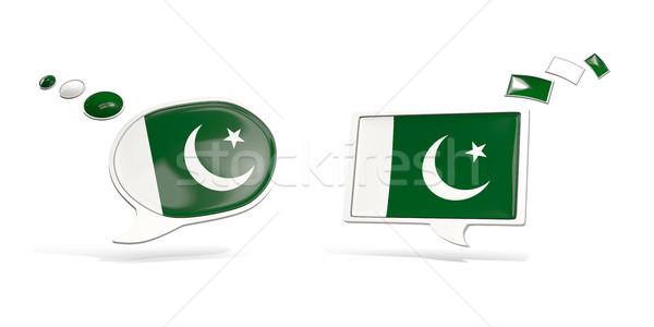 Iki sohbet simgeler bayrak Pakistan kare Stok fotoğraf © MikhailMishchenko