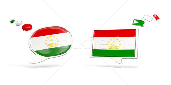 два чате иконки флаг Таджикистан квадратный Сток-фото © MikhailMishchenko