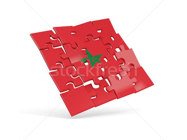 パズル フラグ モロッコ 孤立した 白 3次元の図 ストックフォト © MikhailMishchenko