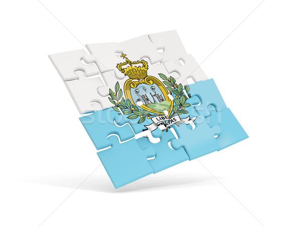 головоломки флаг Сан-Марино изолированный белый 3d иллюстрации Сток-фото © MikhailMishchenko