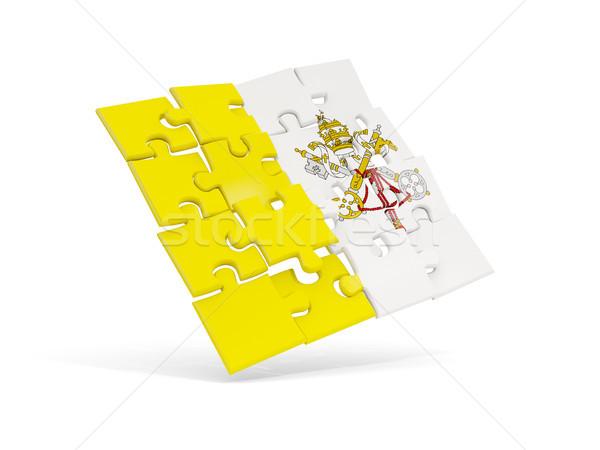 головоломки флаг Ватикан изолированный белый 3d иллюстрации Сток-фото © MikhailMishchenko