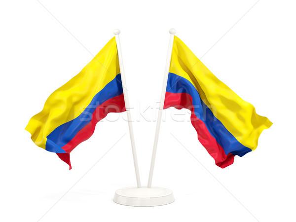 Twee vlaggen Colombia geïsoleerd witte Stockfoto © MikhailMishchenko