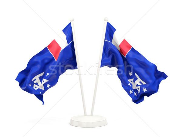 Kettő integet zászlók francia déli izolált Stock fotó © MikhailMishchenko