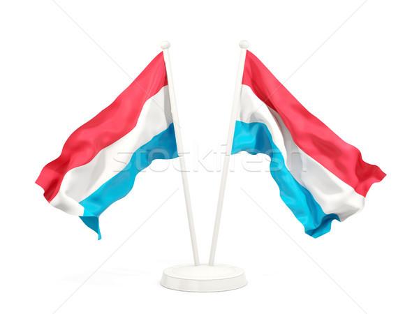 Dwa flagi Luksemburg odizolowany biały Zdjęcia stock © MikhailMishchenko