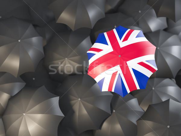 Dach Flagge Vereinigtes Königreich top schwarz Regenschirme Stock foto © MikhailMishchenko