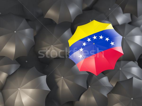 Esernyő zászló Venezuela felső fekete esernyők Stock fotó © MikhailMishchenko