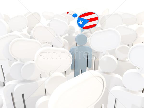 Man vlag Puerto Rico menigte 3d illustration teken Stockfoto © MikhailMishchenko