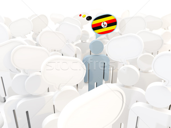 Homme pavillon Ouganda foule 3d illustration signe Photo stock © MikhailMishchenko
