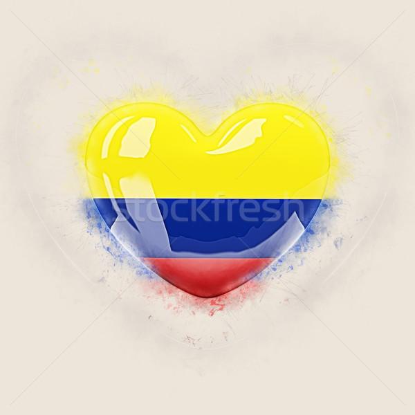 Hart vlag Colombia grunge 3d illustration reizen Stockfoto © MikhailMishchenko