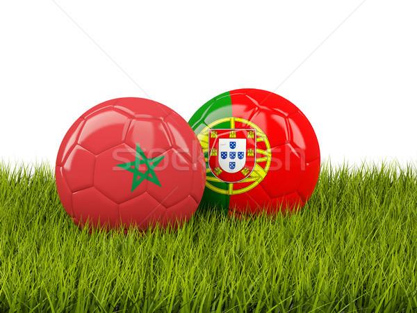 Marrocos vs Portugal futebol bandeiras grama verde Foto stock © MikhailMishchenko