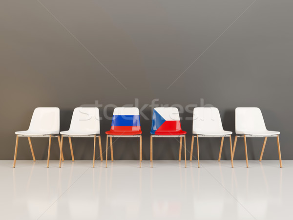 Chairs with flag of Russia and czech republic Stock photo © MikhailMishchenko