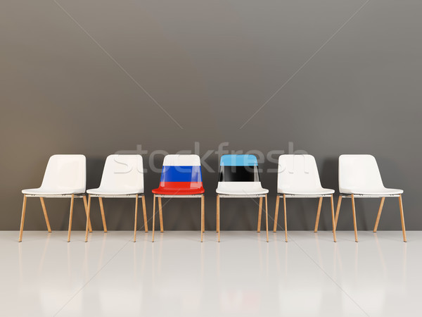 Chairs with flag of Russia and estonia Stock photo © MikhailMishchenko
