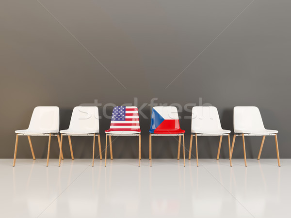 Chairs with flag of usa and czech republic Stock photo © MikhailMishchenko