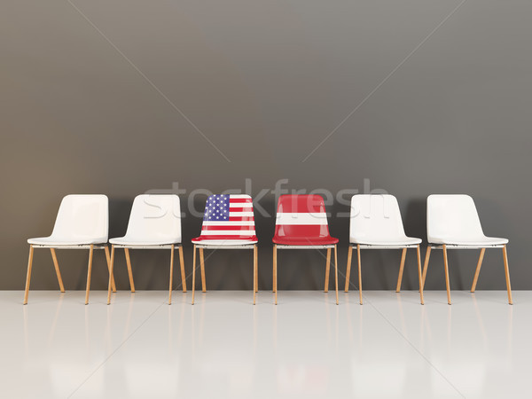 Chairs with flag of usa and latvia Stock photo © MikhailMishchenko