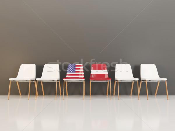 Stoelen vlag USA Letland rij 3d illustration Stockfoto © MikhailMishchenko
