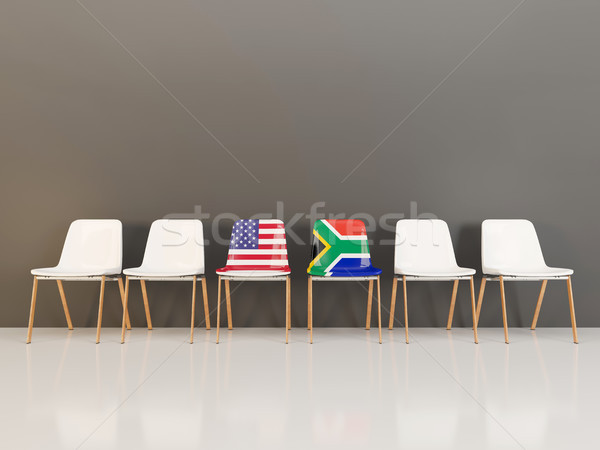 Chairs with flag of usa and south africa Stock photo © MikhailMishchenko