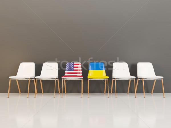 стульев флаг США Украина 3d иллюстрации Сток-фото © MikhailMishchenko
