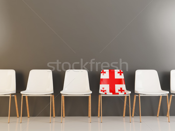 Président pavillon Géorgie rangée blanche chaises Photo stock © MikhailMishchenko