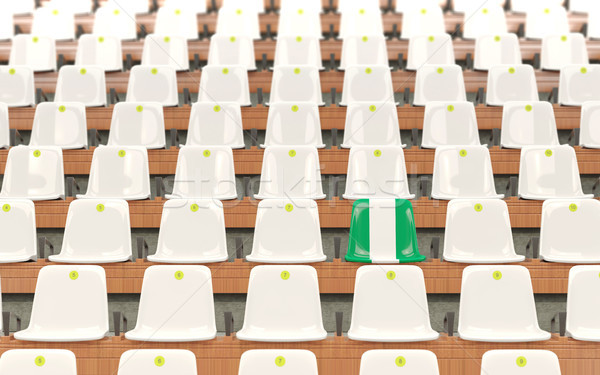 Estádio assento bandeira Nigéria branco Foto stock © MikhailMishchenko