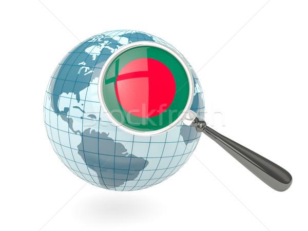 Bandeira Bangladesh azul globo isolado Foto stock © MikhailMishchenko