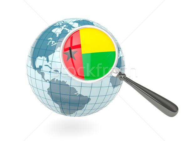 Stock fotó: Nagyított · zászló · Guinea · kék · földgömb · izolált