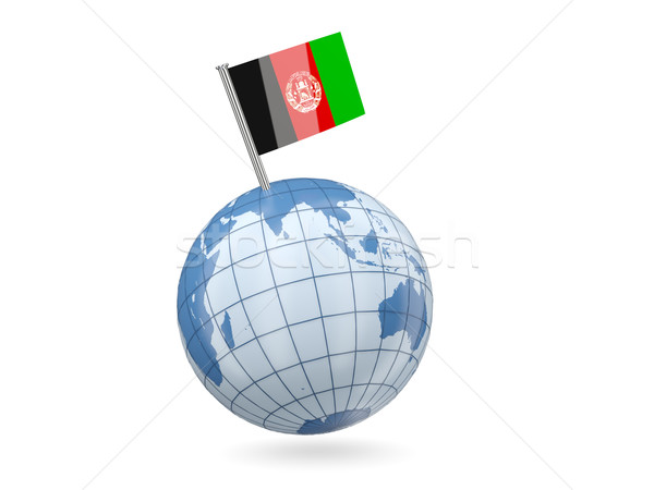 Dünya bayrak Afganistan mavi yalıtılmış beyaz Stok fotoğraf © MikhailMishchenko