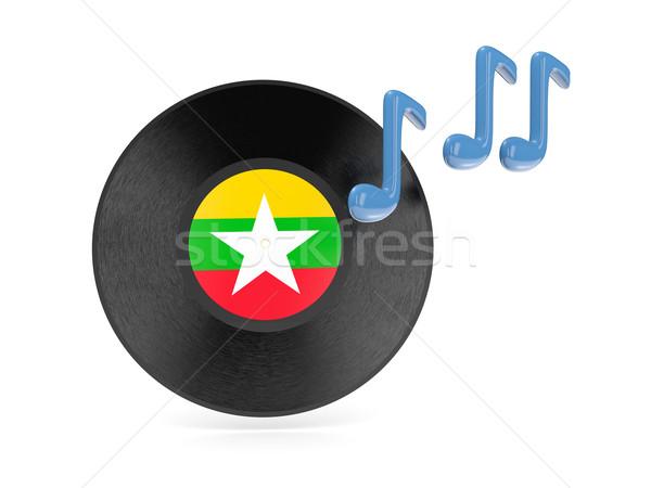 Vinilo disco bandera Myanmar aislado blanco Foto stock © MikhailMishchenko