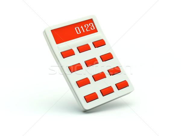 Foto stock: Calculadora · icono · rojo · ordenador · tecnología · financiar