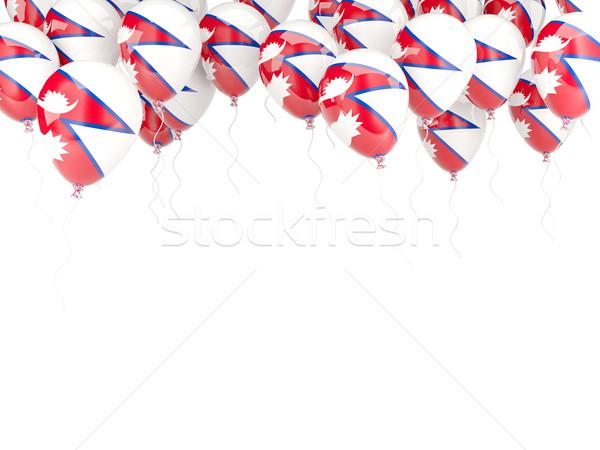 шаре кадр флаг Непал изолированный белый Сток-фото © MikhailMishchenko