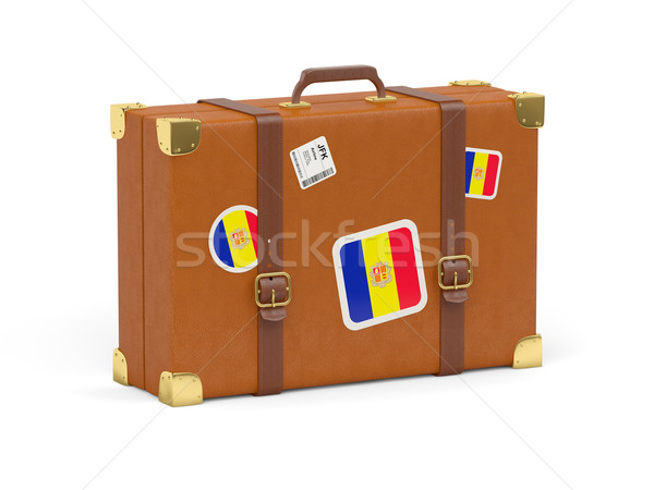 Koffer Flagge Andorra Reise isoliert weiß Stock foto © MikhailMishchenko