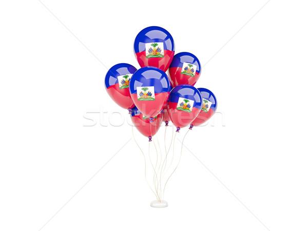 Stockfoto: Vliegen · ballonnen · vlag · Haïti · geïsoleerd · witte