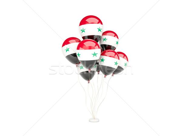 Vliegen ballonnen vlag Syrië geïsoleerd witte Stockfoto © MikhailMishchenko