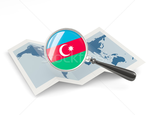 Magnified flag of azerbaijan with map Stock photo © MikhailMishchenko