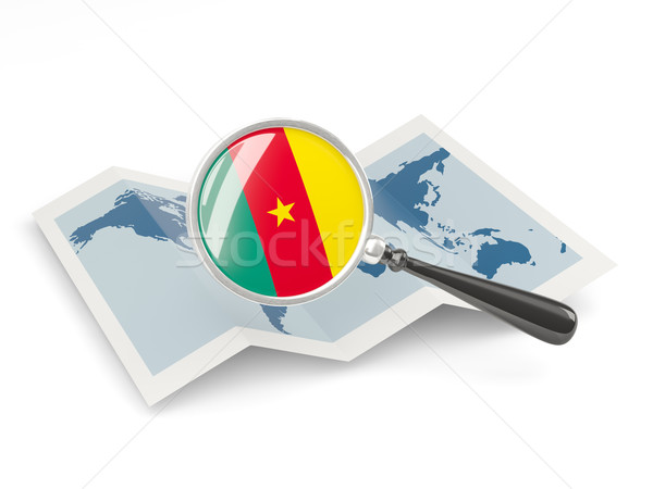 Magnified flag of cameroon with map Stock photo © MikhailMishchenko