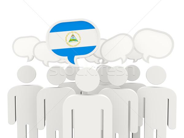 Pessoas bandeira Nicarágua isolado branco reunião Foto stock © MikhailMishchenko